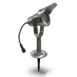 Projecteur OPTIMUM 20 + Socle - Alu brossé - IP67 - MR20 - LED 6,5 W - Warm